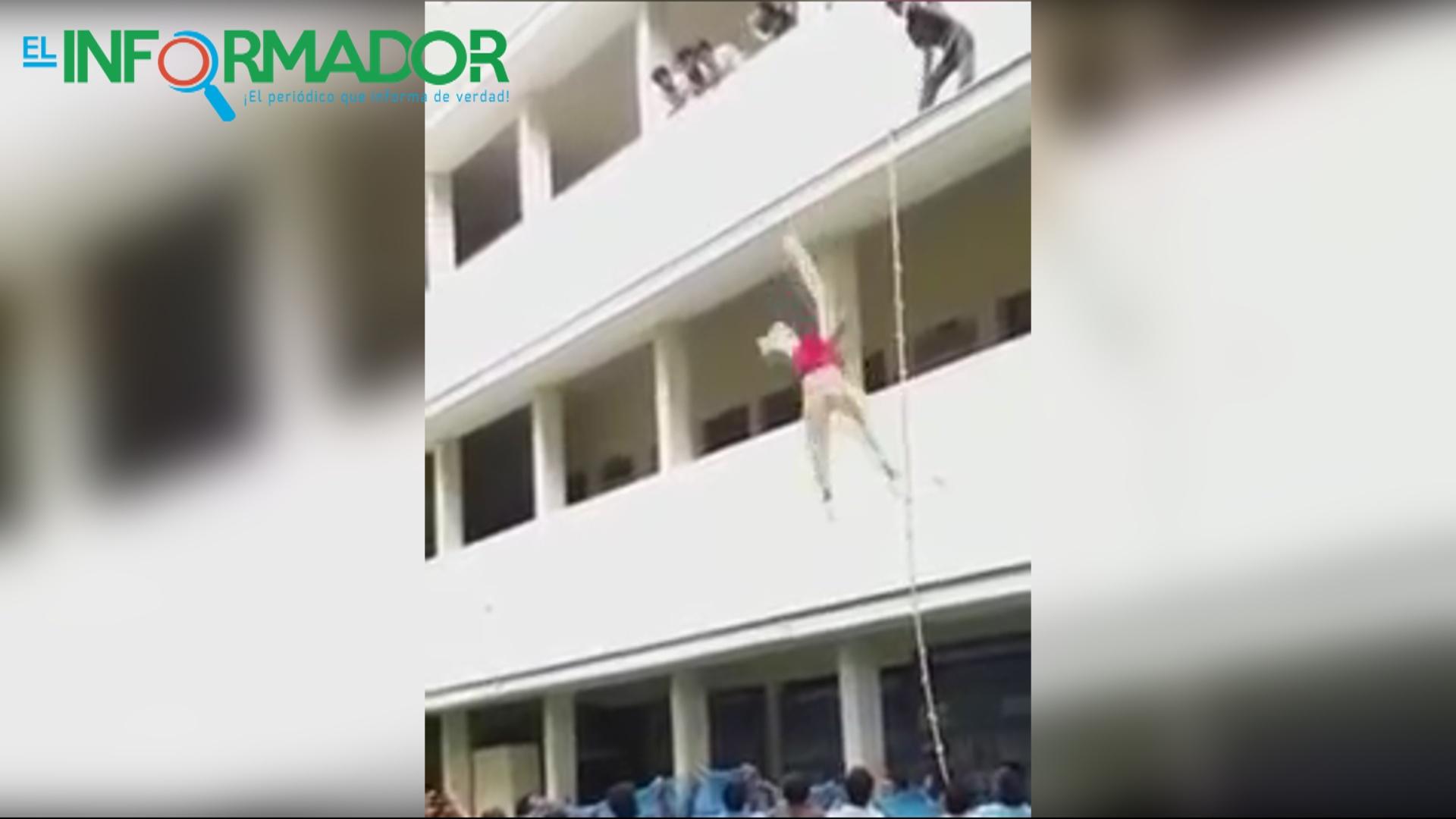 IMPACTANTE VIDEO: Joven estudiante muere en un simulacro al caer de un segundo piso