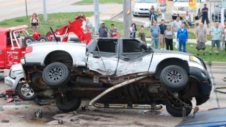 Aparatoso accidente automovilístico en GR