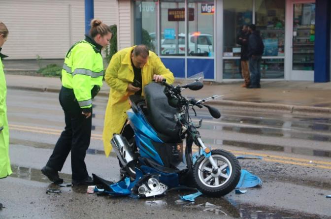 Aparatoso accidente de motocicleta