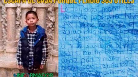 Niño escapa de casa porque perdió sus útiles escolares
