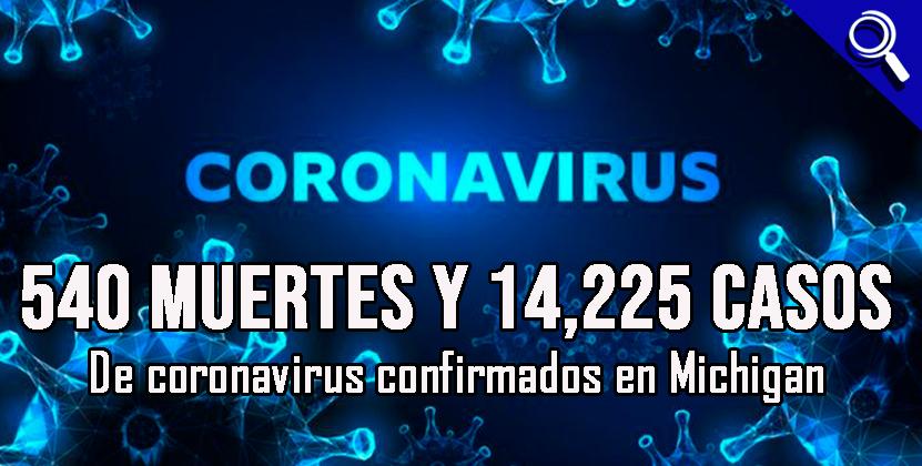 540 muertes y 14,225 casos de coronavirus confirmados en Michigan