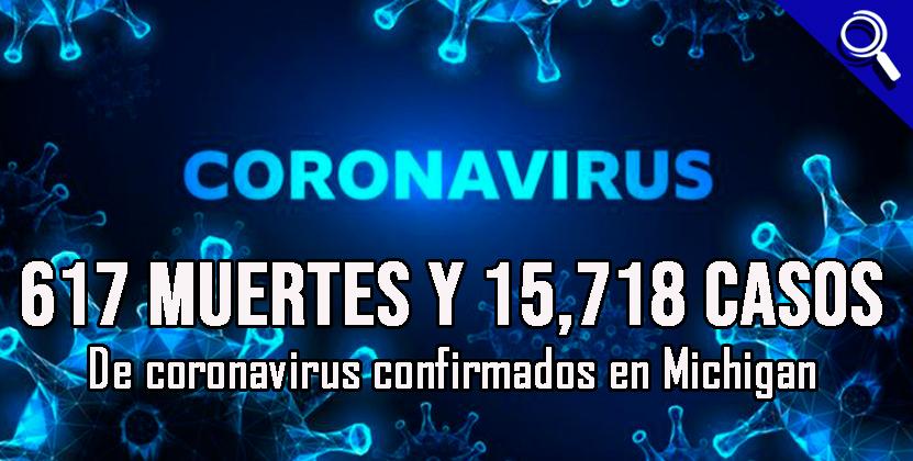 617 muertes y 15,718 casos de coronavirus confirmados en Michigan