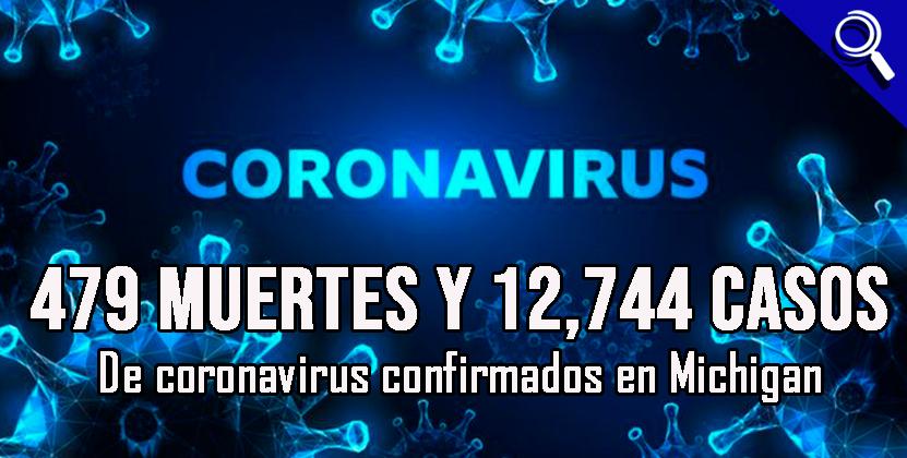 479 muertes y 12,744 casos de coronavirus confirmados en Michigan