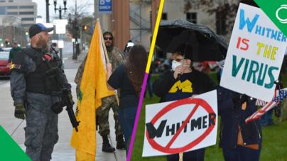 Sin cubrebocas, armados y con insultos se manifiestan en contra de Whitmer